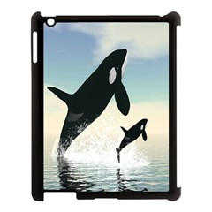 Whale Mum Baby Jump Apple iPad 3/4 Case (Black)