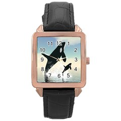 Whale Mum Baby Jump Rose Gold Leather Watch