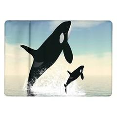 Whale Mum Baby Jump Samsung Galaxy Tab 10.1  P7500 Flip Case