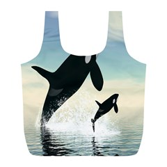 Whale Mum Baby Jump Full Print Recycle Bags (L)