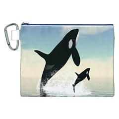 Whale Mum Baby Jump Canvas Cosmetic Bag (XXL)