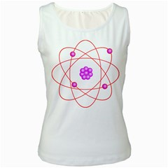Atom Physical Chemistry Line Red Purple Space Women s White Tank Top