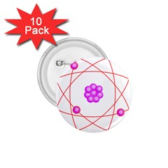 Atom Physical Chemistry Line Red Purple Space 1.75  Buttons (10 pack)