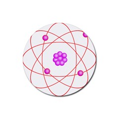 Atom Physical Chemistry Line Red Purple Space Rubber Round Coaster (4 pack)