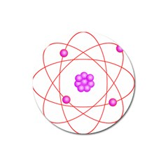 Atom Physical Chemistry Line Red Purple Space Magnet 3  (round)