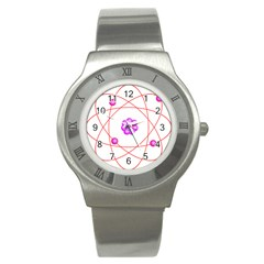 Atom Physical Chemistry Line Red Purple Space Stainless Steel Watch