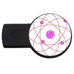 Atom Physical Chemistry Line Red Purple Space USB Flash Drive Round (4 GB)