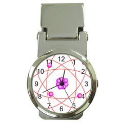 Atom Physical Chemistry Line Red Purple Space Money Clip Watches