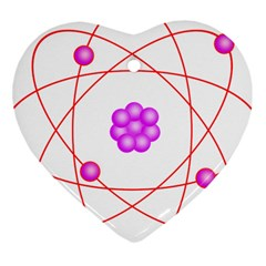 Atom Physical Chemistry Line Red Purple Space Heart Ornament (Two Sides)
