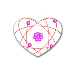 Atom Physical Chemistry Line Red Purple Space Heart Coaster (4 pack)