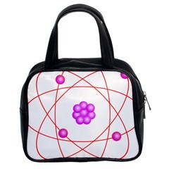 Atom Physical Chemistry Line Red Purple Space Classic Handbags (2 Sides)