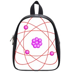 Atom Physical Chemistry Line Red Purple Space School Bags (small)