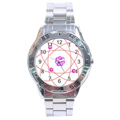 Atom Physical Chemistry Line Red Purple Space Stainless Steel Analogue Watch