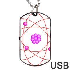 Atom Physical Chemistry Line Red Purple Space Dog Tag USB Flash (One Side)