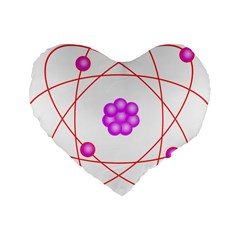 Atom Physical Chemistry Line Red Purple Space Standard 16  Premium Heart Shape Cushions