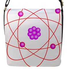 Atom Physical Chemistry Line Red Purple Space Flap Messenger Bag (S)