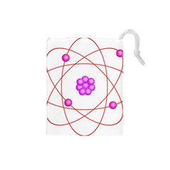 Atom Physical Chemistry Line Red Purple Space Drawstring Pouches (Small)