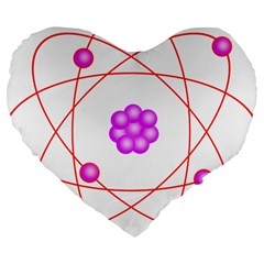 Atom Physical Chemistry Line Red Purple Space Large 19  Premium Flano Heart Shape Cushions