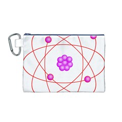 Atom Physical Chemistry Line Red Purple Space Canvas Cosmetic Bag (M)