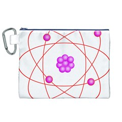 Atom Physical Chemistry Line Red Purple Space Canvas Cosmetic Bag (XL)