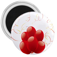 Balloon Partty Red 3  Magnets