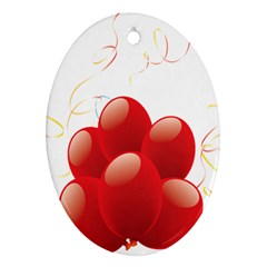 Balloon Partty Red Ornament (oval)