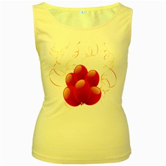 Balloon Partty Red Women s Yellow Tank Top
