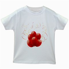 Balloon Partty Red Kids White T-Shirts