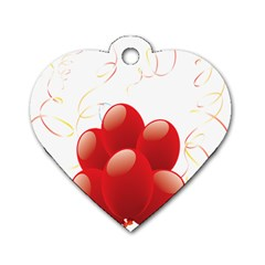 Balloon Partty Red Dog Tag Heart (One Side)