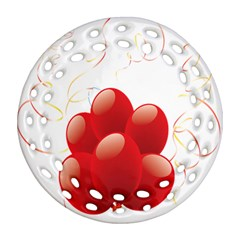 Balloon Partty Red Round Filigree Ornament (Two Sides)