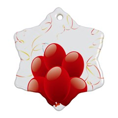 Balloon Partty Red Snowflake Ornament (two Sides)