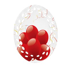 Balloon Partty Red Oval Filigree Ornament (Two Sides)