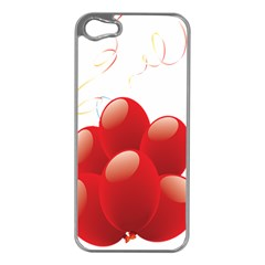 Balloon Partty Red Apple iPhone 5 Case (Silver)