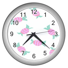 Candy Pink Blue Sweet Wall Clocks (Silver)
