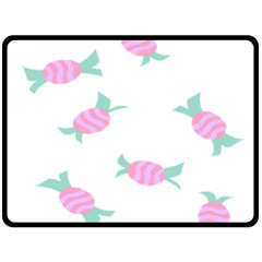 Candy Pink Blue Sweet Double Sided Fleece Blanket (Large)
