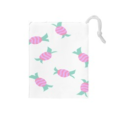 Candy Pink Blue Sweet Drawstring Pouches (Medium)