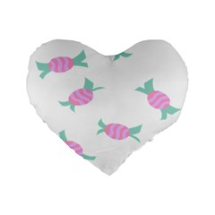 Candy Pink Blue Sweet Standard 16  Premium Flano Heart Shape Cushions