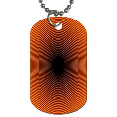 Abstract Circle Hole Black Orange Line Dog Tag (Two Sides)