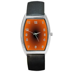 Abstract Circle Hole Black Orange Line Barrel Style Metal Watch