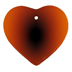 Abstract Circle Hole Black Orange Line Heart Ornament (Two Sides)