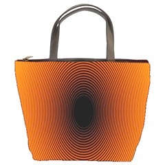 Abstract Circle Hole Black Orange Line Bucket Bags