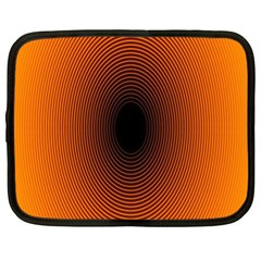 Abstract Circle Hole Black Orange Line Netbook Case (XL)