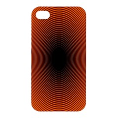 Abstract Circle Hole Black Orange Line Apple iPhone 4/4S Premium Hardshell Case