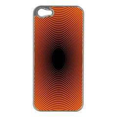 Abstract Circle Hole Black Orange Line Apple iPhone 5 Case (Silver)