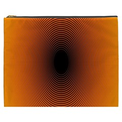 Abstract Circle Hole Black Orange Line Cosmetic Bag (xxxl)