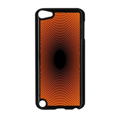 Abstract Circle Hole Black Orange Line Apple iPod Touch 5 Case (Black)