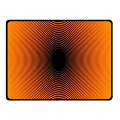 Abstract Circle Hole Black Orange Line Double Sided Fleece Blanket (Small)