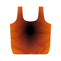 Abstract Circle Hole Black Orange Line Full Print Recycle Bags (m)