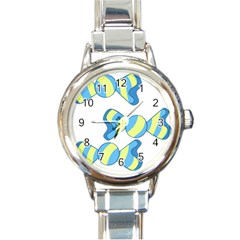 Candy Yellow Blue Round Italian Charm Watch