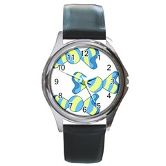 Candy Yellow Blue Round Metal Watch
